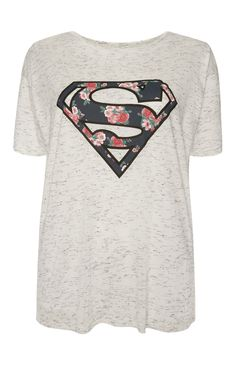 Grey Floral Superman T-Shirt