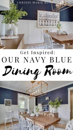 Our navy blue dining room with our budget farmhouse table, Serena and lily end chairs and a mix of affordable and high end  furniture throughout. Wood and white and navy dining room decor