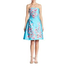 Monique Lhuillier Floral Strapless Dress ($2,610) ❤ liked on Polyvore featuring dresses, apparel & accessories, aquamarine, botanical dress, floral printed dress, strapless dresses, blue strapless dress and floral pattern dress