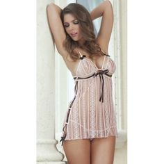 White Floral Lace Hlater Style Babydoll Lingerie with Black Ribbons#dresses