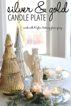 Christmas Decorating: Silver & Gold Candle Plate