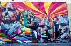 eduardo kobra: mount rushmore mural in L.A.