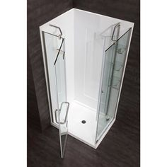 JACUZZI Savannah 73.89-in H x 37.8-in W Brushed Nickel Frameless Rectangle 5-Piece Corner Shower Kit $649