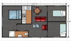 PLANS: The layout of a three-bedroom NZ Transportable Unit house. Liz Mcdonald, Small Sheds, Portable House, Garage Plans, Wide Angle, Urban Design, Cosy, Layout, The Unit