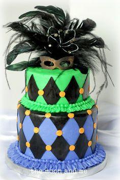 simple Mardi Gras cake