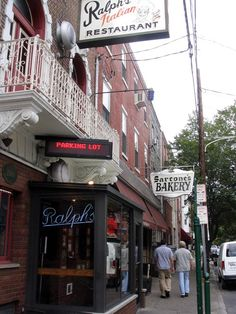 9th St. Philadelphia....Ralph's Restaurant....since 1900....fantastic food!   Sarcone's Bakery....next door....best Italian bread in PA...the real thing!