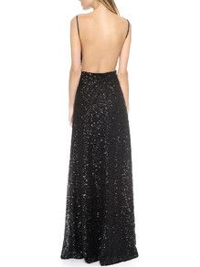 Black Spaghetti Strap Sequined Backless Maxi Dress -SheIn