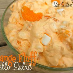 Retro Orange Fluff Jello Salad is fun to serve for salad -- or a refreshing dessert.