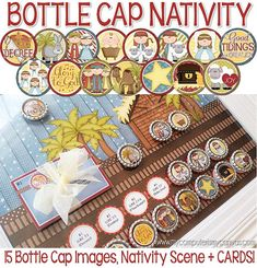 Printable NATIVITY BOARD Activity - with bottle caps and scripture cards. Works as a Nativity Advent, Nativity Lesson or just for play! #mycomputerismycanvas