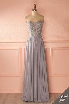 Robe de bal longue grise avec buste brodé de cristaux - Gray crystals embroidered bust prom dress