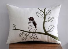 Bird Lumbar Pillow Cover, Decorative Pillow Cover,  Bird Pillow Cover, Modern Pillow, Cream Linen Pillow, Brown Bird on branch, Embroidered