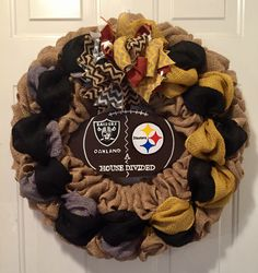 A personal favorite from my Etsy shop https://www.etsy.com/listing/502361401/oakland-raiders-wreath-pittsburgh
