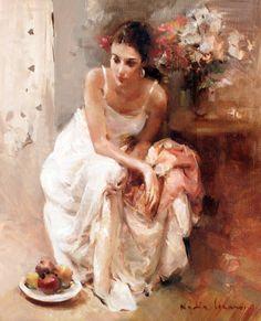 Nydia Lozano 1947 | Spanish Impressionist Figurative painter | Ladies with flowers | Tutt'Art@