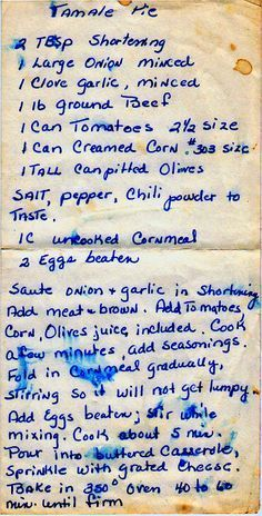 Tamale Pie - I have searched for this recipe for over 50 years!!! Thank you - I can't wait to make it.
