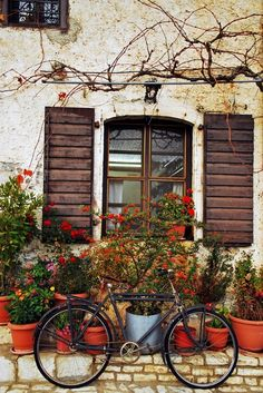 Italy photo via diana Beautiful World, Beautiful Places, Bicycle Art, Vintage Design, Plein Air, Windows And Doors, Nature Photography, Photography Flowers, Modern Design