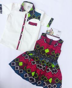 African print Matching outfits for kids and Baby African Clothes, African Dresses For Kids, African Children, African Fashion Dresses, African Attire, African Wear, Fashion Kids, Ankara Styles For Kids, Africa Fashion