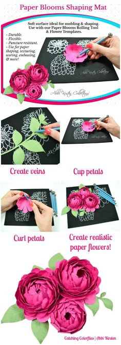 Paper flower shaping tools. Paper flower molding mat and rolling tool set. Easy paper flower templates and tutorials.