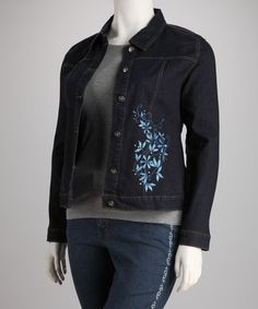 Take a look at this Dark Wash Floral Embroidered Plus-Size Jacket by True Blue: Plus-Size Apparel on @zulily today!