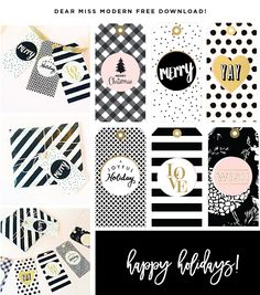 Miss Modern Free Gift Tags