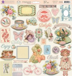 Prima - Delight Collection - 12 x 12 Self Adhesive Chipboard Pieces