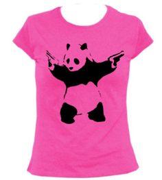 Panda Bear with Guns Animal Cool Funny Women's T Shirt Banksy Canvas Prints, Canvas Art, Panda Bear, Guns, Batman, T Shirts For Women, Superhero, Wall Art, Cool Stuff