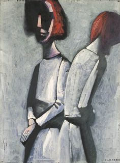 Two figures, ca 1960, Charles Blackman. Australian