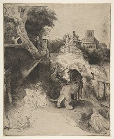 St. Jerome Reading in an Italian Landscape Rembrandt (Rembrandt van Rijn)  (Dutch, Leiden 1606–1669 Amsterdam) Date: ca. 1653 Medium: Etching, drypoint, and engraving on oatmeal paper; second state of two Dimensions: plate: 10 3/16 x 8 1/4 in. (25.9 x 21 cm) Classification: Prints Credit Line: Gift of Felix M. Warburg and his family, 1941 Accession Number: 41.1.17