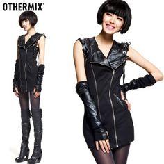 $51.48 The tide brand 2012 Spring new women rock punk style black PU splicing Korean sleeveless dress their children