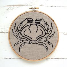Crab Embroidery Kit #canada #crab #embroidery #embroidery-kit #iheartstitchart #indie-designer #intermediate #kit #linen #vintage