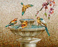 Mosaic bird fountain