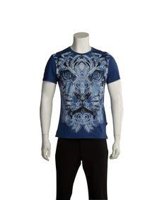 JUST CAVALLI JUST CAVALLI MEN TIGER T-SHIRT NAVY'. #justcavalli #cloth #t-shirts