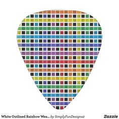 White Outlined Rainbow Weave Guitar Pick