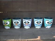 Shades of Teal Whimsical Owl - Handpainted Ceramic Travel Mug - Home or Office Mug with Lid. $23.00, via Etsy.