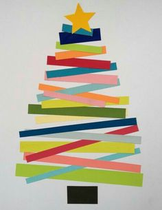 weihnachtskarten basteln tanne farbiges papier streifen // christmas cards - christmas tree with coloured paper stripes Christmas Activities, Christmas Crafts For Kids, A Christmas Story, Kids Christmas, Holiday Crafts, Christmas Decorations, Christmas Trees, Family Crafts, Easy Crafts For Kids