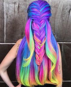 16 Rainbow Hair Color Ideas You'll Go Crazy Over - Hair - Hair Designs Short Curly Hair, Curly Hair Styles, Pelo Multicolor, Neon Hair, Bright Hair, Colorful Hair, Multicolored Hair, Coloured Hair, Bright Colored Hair