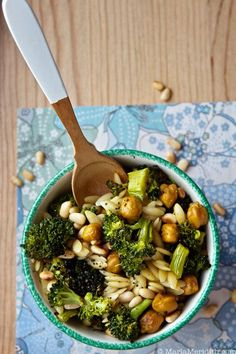 Orzo Pasta with Roasted Broccoli & Chickpeas. Delicious, great texture, and perfect for Summer!