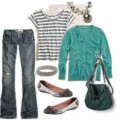 Outfit - striped tee + teal cardi + jeans