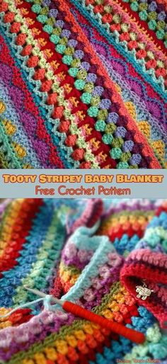 What differ Tooty Stripey Blanket among others is its a completely reversible texture. Huge number of hues are combined in lots of stitches - bobbles, popcorns and post stitches worked on both sides i Crochet Baby Blanket Free Pattern, Crochet Afghans, Tunisian Crochet, Baby Knitting Patterns, Baby Patterns, Crochet Stitches, Crochet Patterns, Crochet Ideas, Baby Afghans