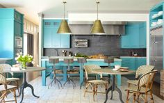 bobby flay turquoise kitchen french woven cafe chairs tables slate backsplash cococozy
