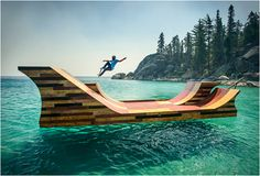 Bob Burnquist on a floating skate ramp on Lake Tahoe
