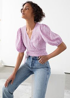 Printed Puff Sleeve Wrap Top - Lilac Florals - Tops & T-shirts - & Other Stories
