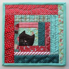 Kitty potholder cat scrappy patchwork log cabin mug rug etsy this lap quilt is made of high quality cotton in order to offer you a one of a kind product that will embellish your comfort for years to come the Cat Quilt Patterns, Potholder Patterns, Patchwork Patterns, Patchwork Quilting, Scrappy Quilts, Mini Quilts, Crazy Quilting, Canvas Patterns, Fabric Patterns