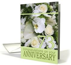 73rd Wedding Anniversary White Mixed Bouquet card 29th Wedding Anniversary, Happy Anniversary, Anniversary Surprise, Bouquet, Greeting Cards, Autumnal, Family Relations, White Roses, Studio