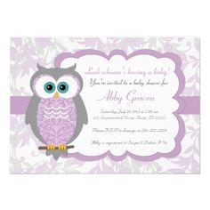 Baby Girl Owl Baby Shower Invitations with Owls by alittletreasure Baby Shower Invitation Templates, Baby Shower Invitations For Boys, Baby Shower Themes, Shower Ideas, Invitation Cards, Invitation Ideas, Baby Invitations, Invitation Wording, Baby Girl Owl