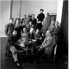 """""""Les irascibles"""". photograph by Nina Leen for Life Magazine.1950. The Irascibles were a group of artists who decided to come together and write a letter to the director of The Metropolitan Museum of Art stating that their exhibition """"American Painting Today, 1950""""  provided no examples of abstract expressionism which provoked a controversy once it was published in Life Magazine."""
