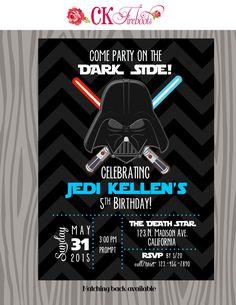 Vintage Inspired Darth Vader - Star Wars - Birthday Invite by ckfireboots on Etsy