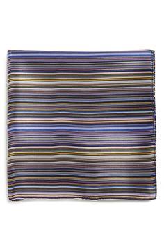 PS Paul Smith Multistripe Silk Pocket Square $85