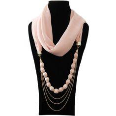 scarf jewelry   2013 Lady Charm Special Bead Necklace Chiffon Scarf Jewelry