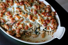 baked chicken and spinach pasta