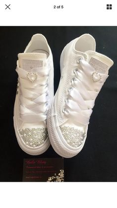 Stunning custom made wedding converse. Customised with crystals, pearls, heart lace charms and any colour ribbon laces to match your colour scheme Also come with original laces Any personalisation - no extra charge Other colours available please just ask All adults sizes available (see